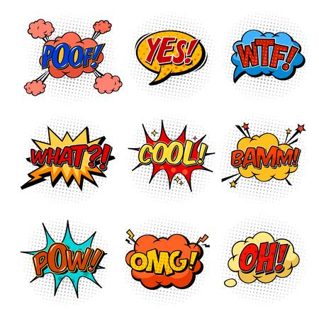 Clouds with stars as comic speech bubbles for book. Onomatopoeia sounds and replica like yes and oh, wtf and what, cool exclamation and bam or pow bang sign, omg and poof. Communication theme