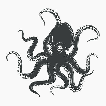 Océano o mar pulpo monstruo o calamar con ventosas en los tentáculos. Cuerno de la historieta marina o octopoda, animal subacuático. Mascota o tatuaje cefalópodo o molusco sin espinas. Tema salvaje de la vida acuática Ilustración de vector