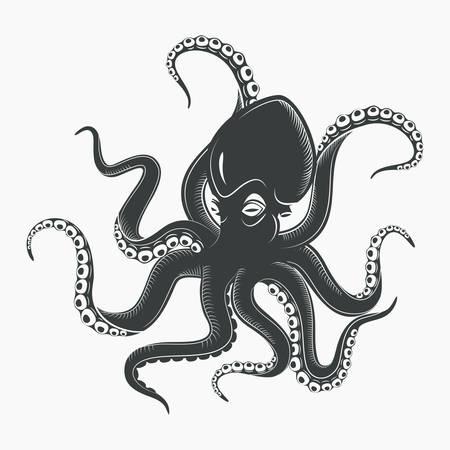 Océano o mar pulpo monstruo o calamar con ventosas en los tentáculos. Cuerno de la historieta marina o octopoda, animal subacuático. Mascota o tatuaje cefalópodo o molusco sin espinas. Tema salvaje de la vida acuática