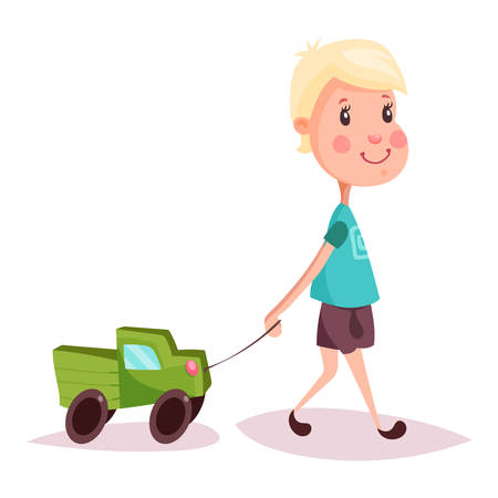 child hair: Blonde hair child with toy automobile or auto on rope. Kid or boy, schoolkid with lorry or truck. Cartoon youngster playing with car. Happy childhood and gaming person, little and small people theme Illustration