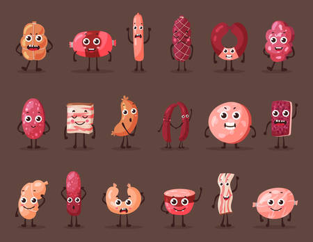 grease: Meat cartoon characters. Food or gourmet logo made of frankfurter sausage or weenie, fat or lard, tallow or grease, sludge and kielbasa, wurst and beef, salami. Shop and steakhouse banner Illustration