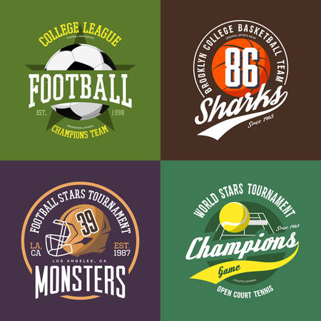 Soccer ball badge, basketball and volleyball signs, american football helmet or cap, scrum or face mask. Clothing print design or sport t-shirt print. Competition and tournament logo, athletic club