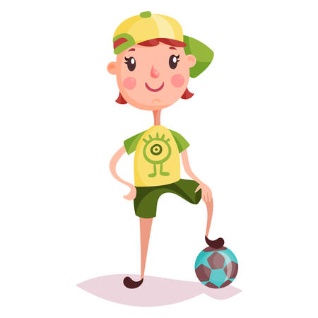 kid smile: Small kid or child standing on soccer ball. Boy in cap with football attribute. Cartoon young guy with smile. Posing schoolkid with funny expression. Schoolchildren and childhood, sport activity theme Illustration
