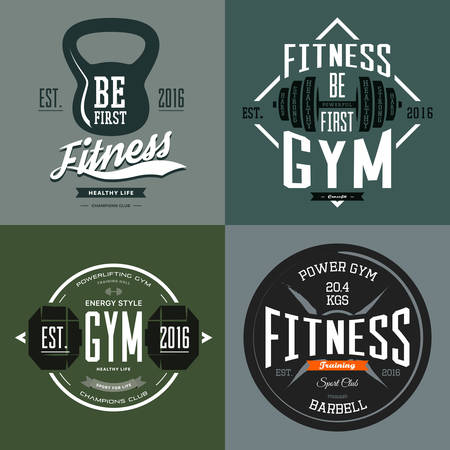 poise: Fitness gym or weight sport center banners with dumbbell and barbell, rod and poise, gymnasium sign. Workout t-shirt prints and urban clothing branding. Sport club or center, sportswear advertising Illustration