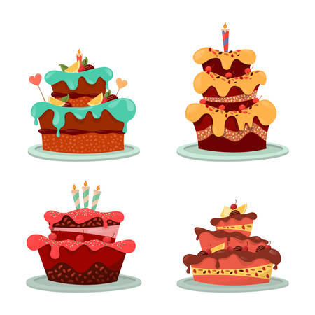 sweeties: Bakery cakes with icing and frostings, lighted candle and hearts, cream and cherry, lemons. Set of isolated confectionery pastry with chocolate. Sweeties and food, dessert and celebration, gift theme