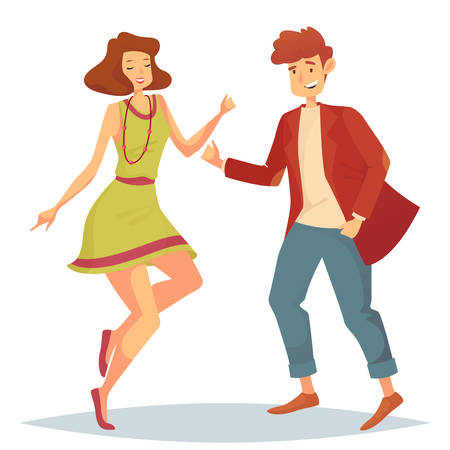 Man in jacket and trousers dancing with woman in skirt or dress and necklace or bead. Lady and teenager at disco or discotheque, couple performing moves at music night club. Entertainment theme