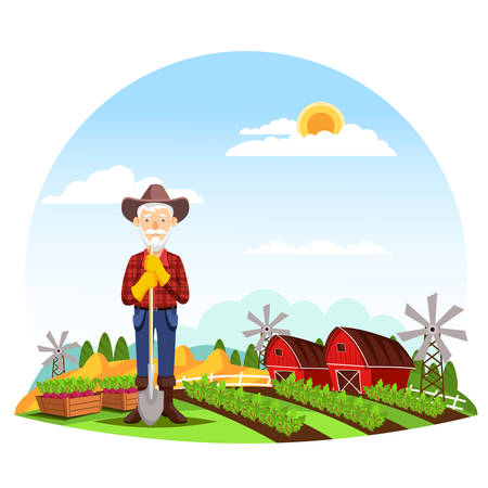 Old farmer man with hat and spade near garden bed or ridge, wooden boxes with beets in front of farm with barns and mills, hay. Harvest and agriculture, cartoon people or worker, healthy food theme