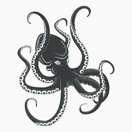 촉수와 흡입 컵과 만화 문어입니다. 수족관 또는 바다 방목 연체 동물 또는 octopoda, 바다 수 중 오징어 문자입니다. 수영 동물, 문신 또는 마스코트 로고