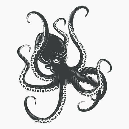 Pieuvre de dessin animé avec des tentacules et des ventouses. Aquarium ou mer, mollusque sans essences ou octopoda, caractère océan sous les eaux. Logo animal, tatouage ou mascotte, thème du monstre de l'eau