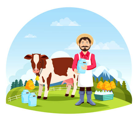 Farmer near cow and bottles of milk. Cartoon man at farm near cattle animal with ring and cans of liquid in front of forest or meadow. Farming and countryside, rural and village landscape, dairy theme