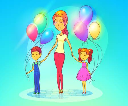 attractive woman: Woman with daughter and son holding air balloons. Female mother with children or kids, baby or schoolgirl, schoolboy. Cartoon attractive lady with family. Parenthood and childhood theme Illustration