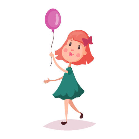 bowknot: Small or little girl holding air balloon on rope. Cartoon child or smiling kid with blush on walk . Schoolgirl or happy schoolkid in dress or skirt. Childhood and young female with bow-knot theme