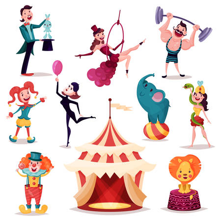 Circus tent, camp or amusement arena. Lion and elephant on ball, strong man with barbell on rod.