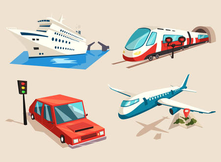 jet airplane: Car or auto, yacht or ship, plane or jet, train on railroad or locomotive, aircraft and airplane. Illustration