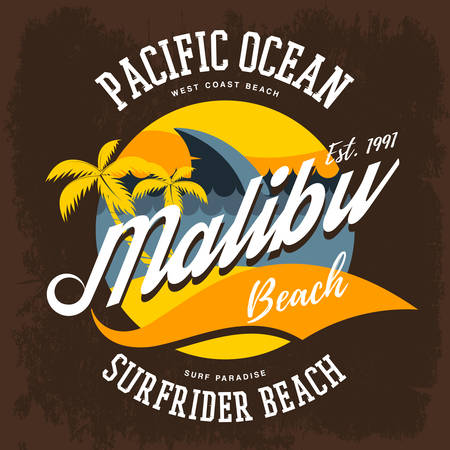 malibu: Beach sign with palms and ocean at malibu california. Surfrider t-shirt advertising or sportswear. Illustration