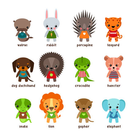 perros graciosos: Cartoon animals. Leopard and walrus,rabbit and dog