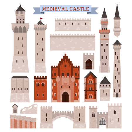 Medieval castle parts like gates, walls, towers