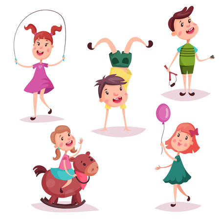 Cartoon girl and boy, baby and preschool kids