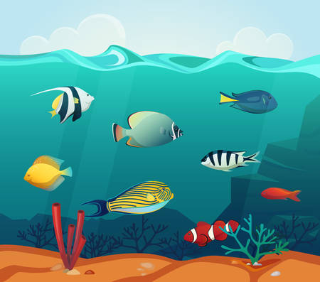 heros: Ocean colourful fishes with corals at bottom Illustration