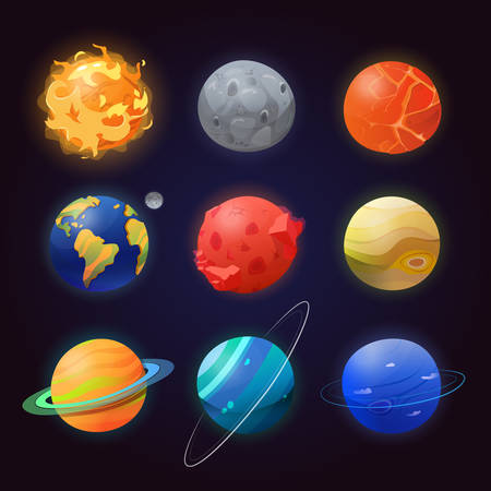 astronautics: Set of isolated solar system planets and sun. Illustration