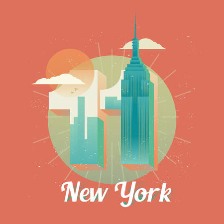 11th: USA New York twin towers, world trade center Illustration
