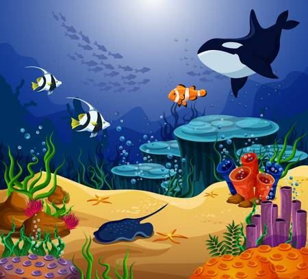 Ocean or sea fish, killer whale and stingray