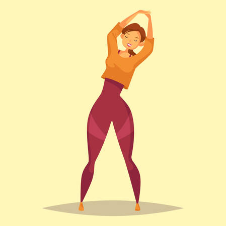 vigor: Woman or girl doing stretch exercise at gym