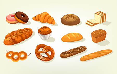Sliced butterbrot bread and baguette, cake Illustration