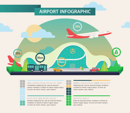 Airport Infographic Template With Flying Plane And Car, Bus ...