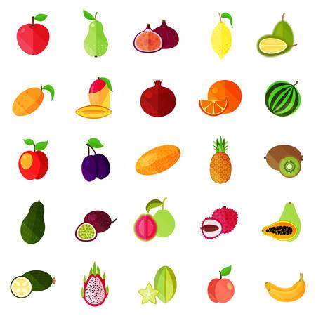 Isolated natural fruits, durian, pitaya or pitahaya, dragon fruit and apple, pear and banana, lemon, peach and apricot, passion fruit and apricot, mango and orange, watermelon and plum, kiwi.