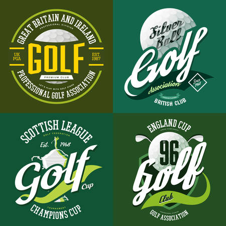 Golf ball and trophy cup or bowl for champions. T-shirt print sportswear design or cloth logo for golfer association or sport club. England or scottish sport advertising, team label