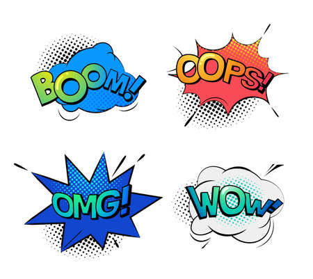 ooops: Bubble speeches for wow and omg, oops and boom Stock Photo