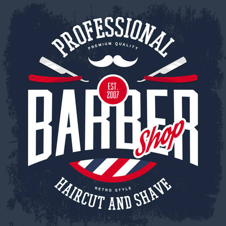 barber: Barber shop sign with razors and mustache, old or retro, vintage logo for haircut and shaving beard and mustache place, hairdresser logo, t-shirt print.Advertising and profession branding
