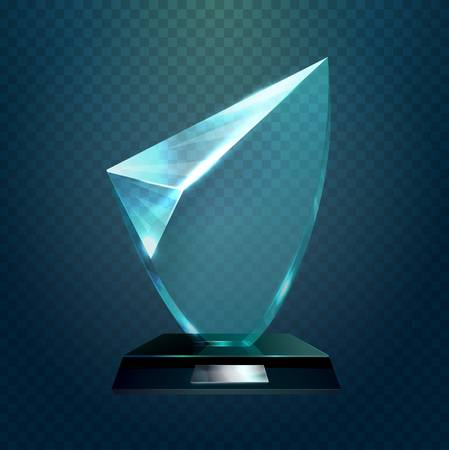 hexadecimal: Transparent glassware trophy, glass hexadecimal, award for achievement or crystal shiny prize. Competition and championship, sport sign and champion badge, winner theme