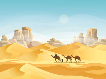 Desert with convoy or camel caravan