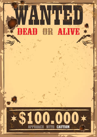 Wild west bounty or wanted paper Stock Illustratie