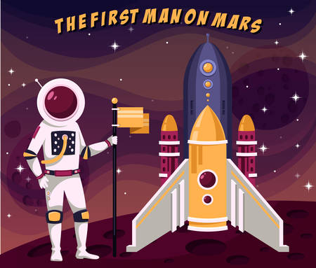 spacesuit: First astronaut man in spacesuit placing flag on mars Illustration