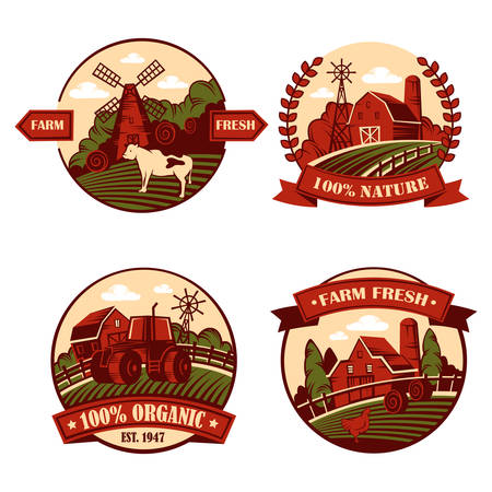 Village icons with cow and mill, barn in field Illustration
