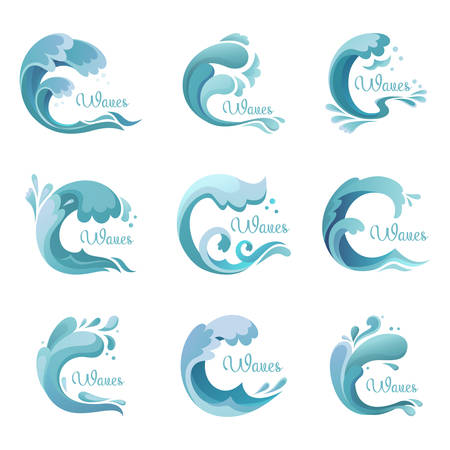 oceanic: Wave with drops,ocean or sea liquid icons or signs