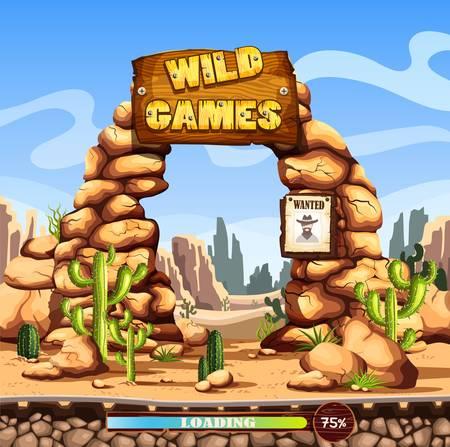 Start or loading screen for web wild west game Illustration