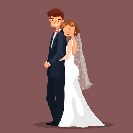 woman male: Couple of mature man and woman having wedding. Bride in dress or wife with veil in hair and husband or groom in suit hugging, Married fiancee female embrace male. People and celebration, romance theme