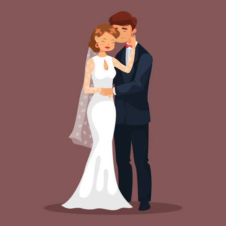 fondle: Married couple, woman and man at wedding. Bride or wife and husband in suit or groom. Smiling fiancee or young female caress her man at celebration. Relationship and romance, marriage theme