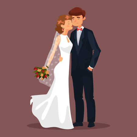 woman male: Wedding with husband and wife, married couple at celebration. Woman with veil and flower bouquet kissing or touching her man. Bridal ceremony, cartoon people, male or female in dress and earrings