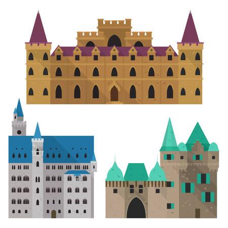 Ensemble de vue de face du château médiéval de dessin animé isolé. Architecture royale avec mur et tourelles, palais gothique et résidence royale, construction d'un ancien fort. Architecture du bâtiment, thème du livre d'histoire
