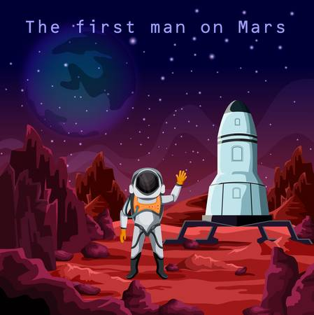 An Astronaut in spacesuit or first man on red planet mars. Human cosmonaut near rocket or spaceship. Cosmos and space exploration and colonization, future mission and science, galaxy theme.