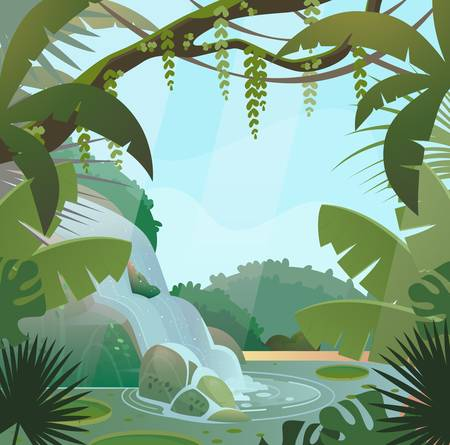 Rainforest in jungle with palms and waterfall Illustration