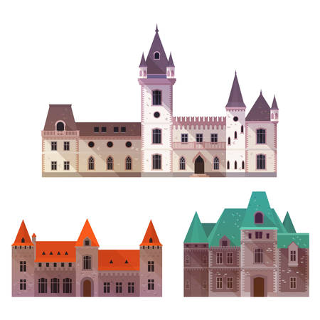 Medieval castles with towers and turrets Illustration