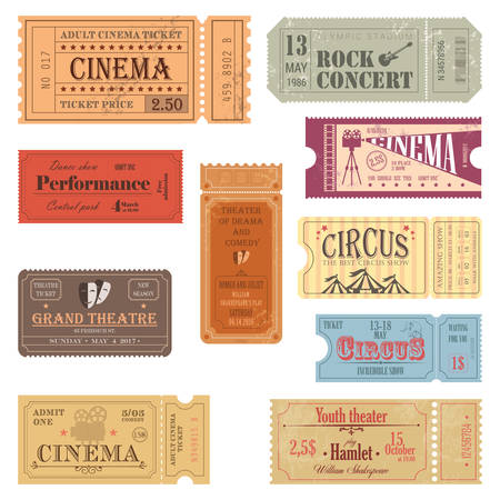 Retro tickets or old paper coupons for show
