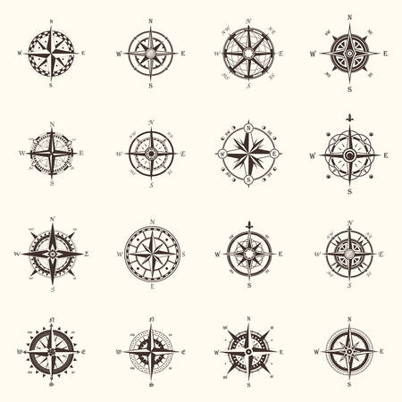 Old compass or ocean, sea navigation wind rose Çizim
