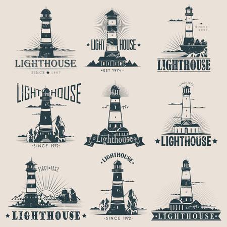 灯台スケッチ岩やサンゴ礁、海、海の近く、船やフリゲートの近くの建物を分離しました。ポートや港で指導構造。航海危険または海洋符号、船員  イラスト・ベクター素材